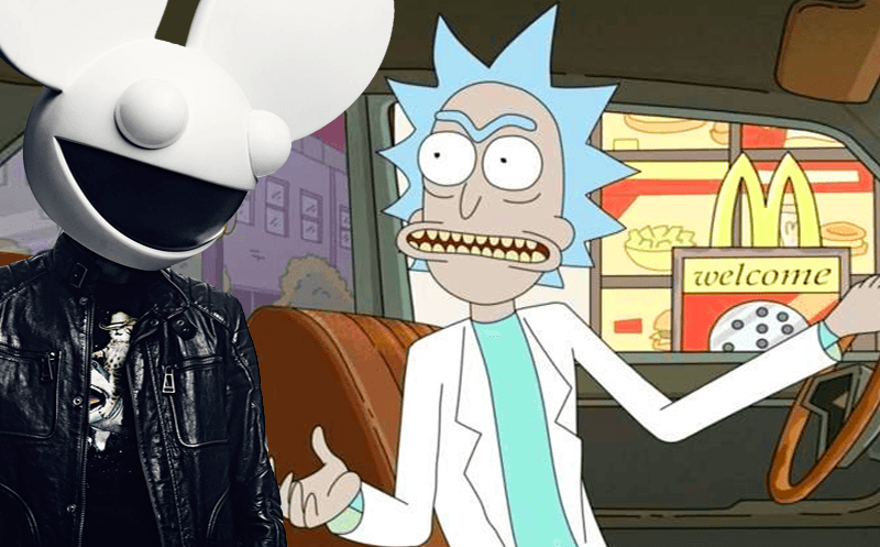 Watch deadmau5 ring in 2018 with custom 'Rick & Morty' display