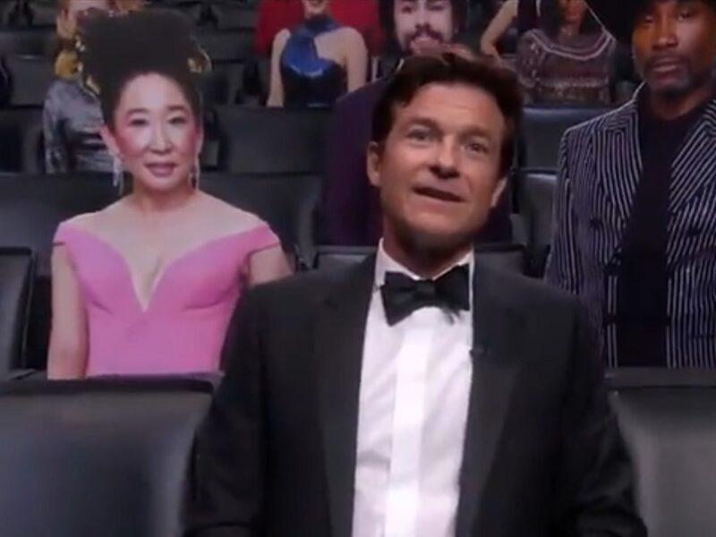 Jason Bateman Appears as Lone Live Human Among Celebrity Cardboard Cutouts at 2020 Emmys